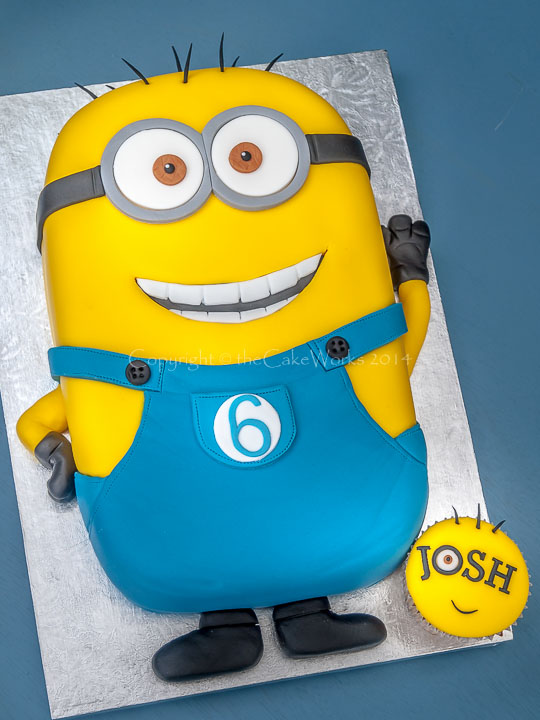 6th birthday - Minion birthday cake and a special minion cupcake for Josh