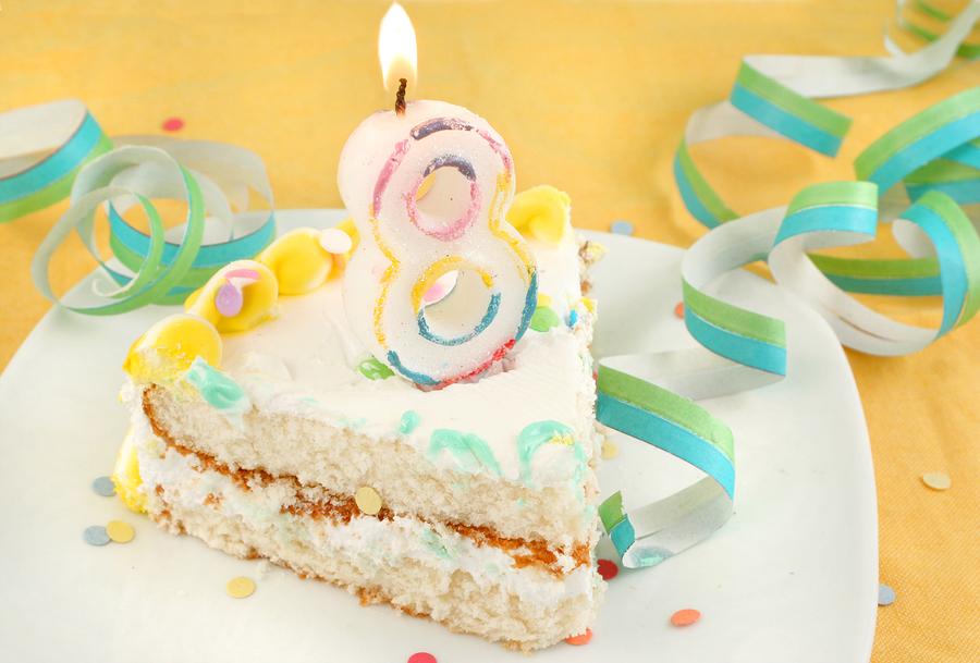 Slice Of Eighth Birthday Cake
