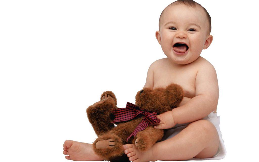 Smiling Cute Baby Boy Playing With Teddy Bear HD Wallpaper-1280x800-cutelittlebabies.blogspot.com